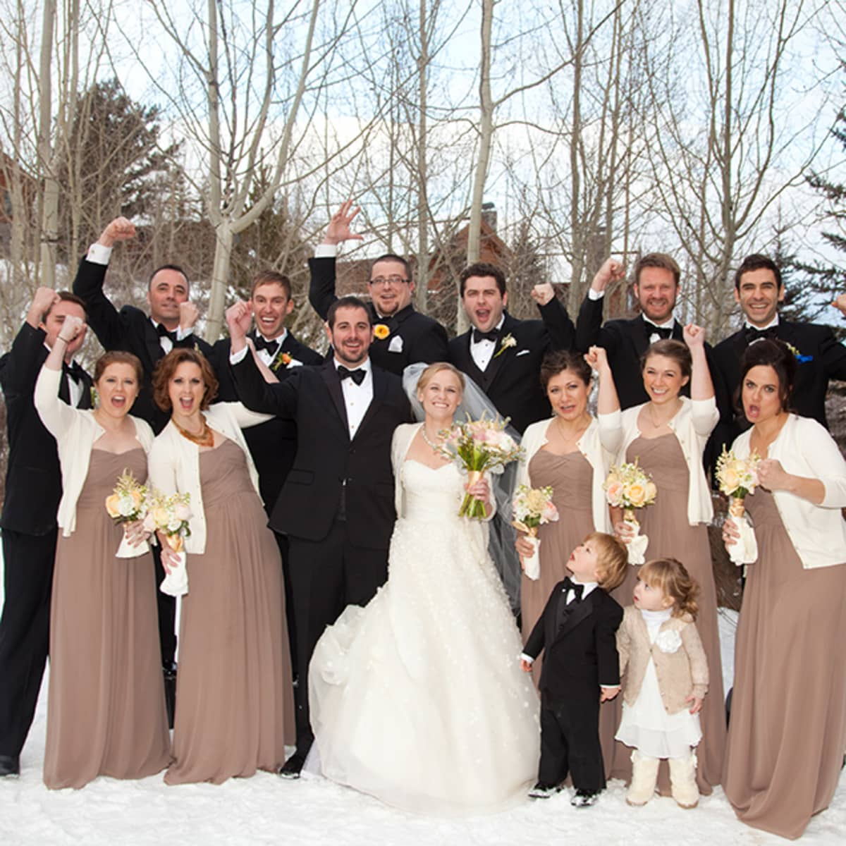 Christmas wedding party rainforest islands ferry the bridal party cheers ombrellifo Images