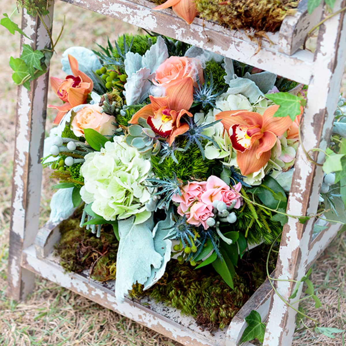 Rustic Floral Arrangements Complement The Sophisticated Southern Theme