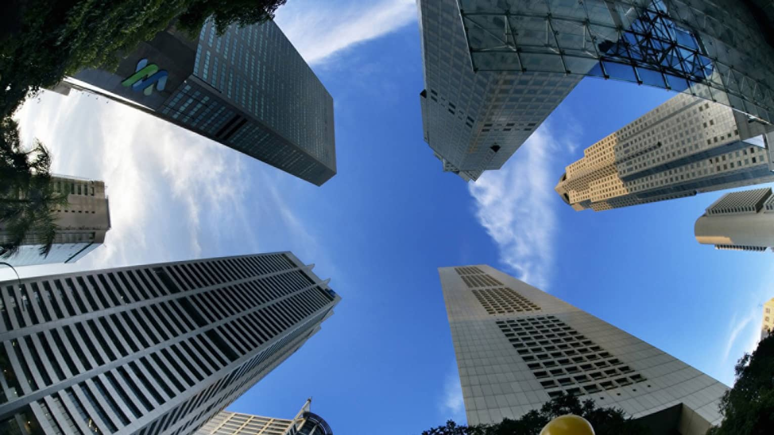 Fish-eye lens shot of skyscrapers in Singapore