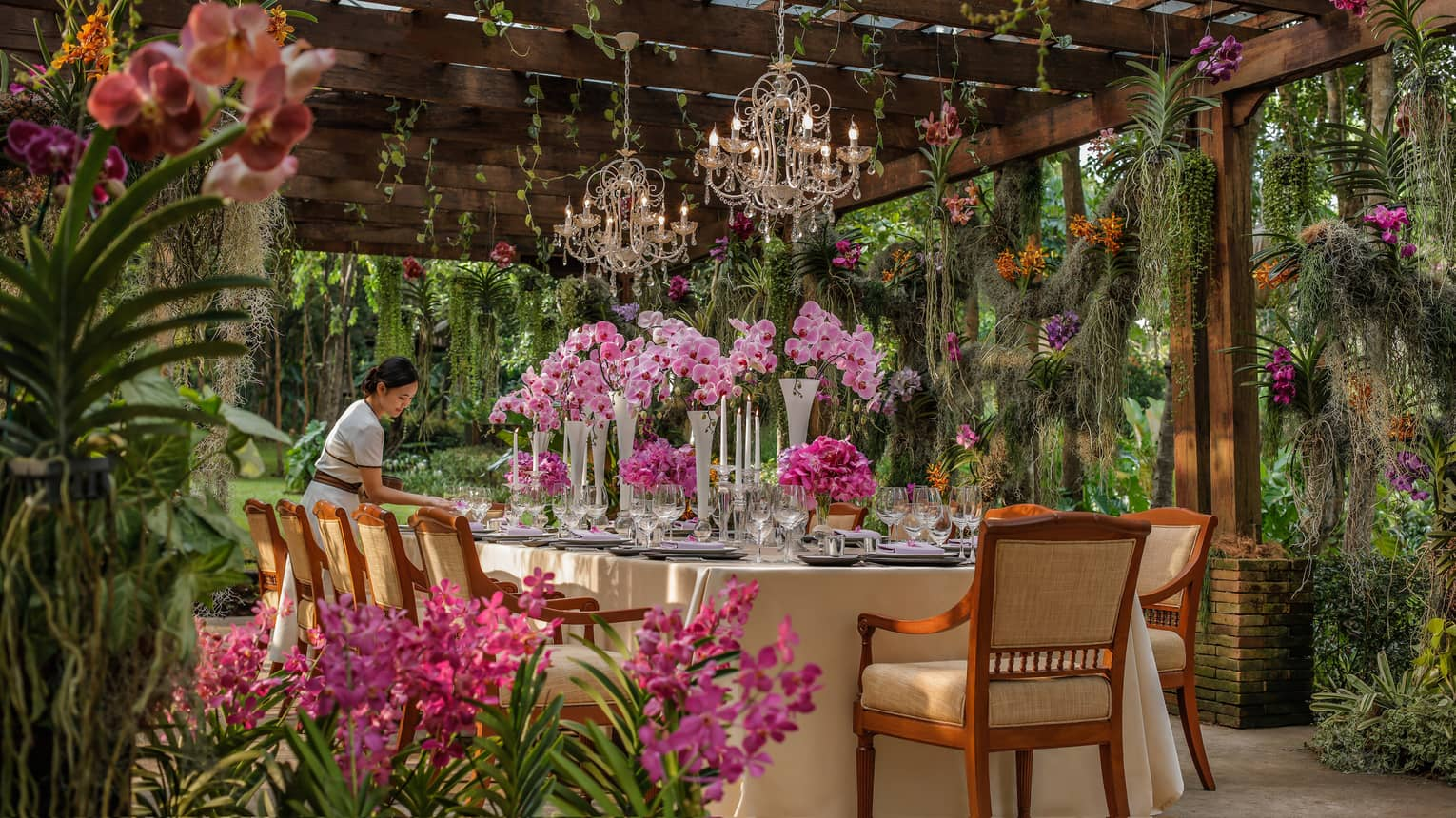 Hotel staff sets large formal dining table in tropical garden, large pink flowers under small crystal chandeliers