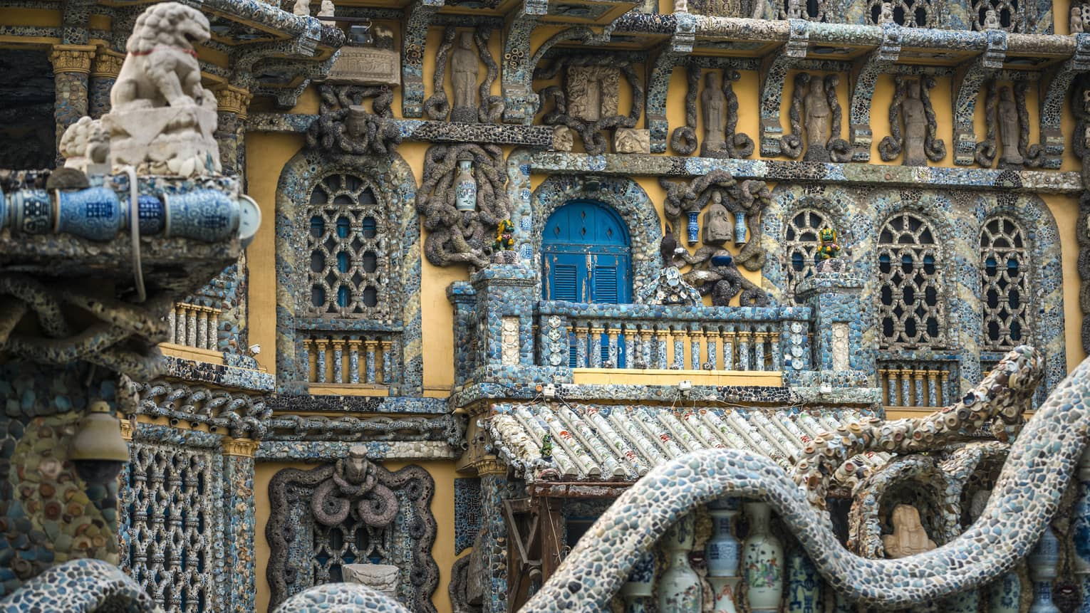 Tianjin Porcelain House exterior, close-up of decorative pottery tiles, stones