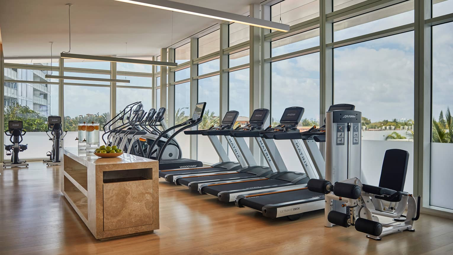 Indoor fitness facility with cardio and strength training equipment like treadmills and elliptical machines