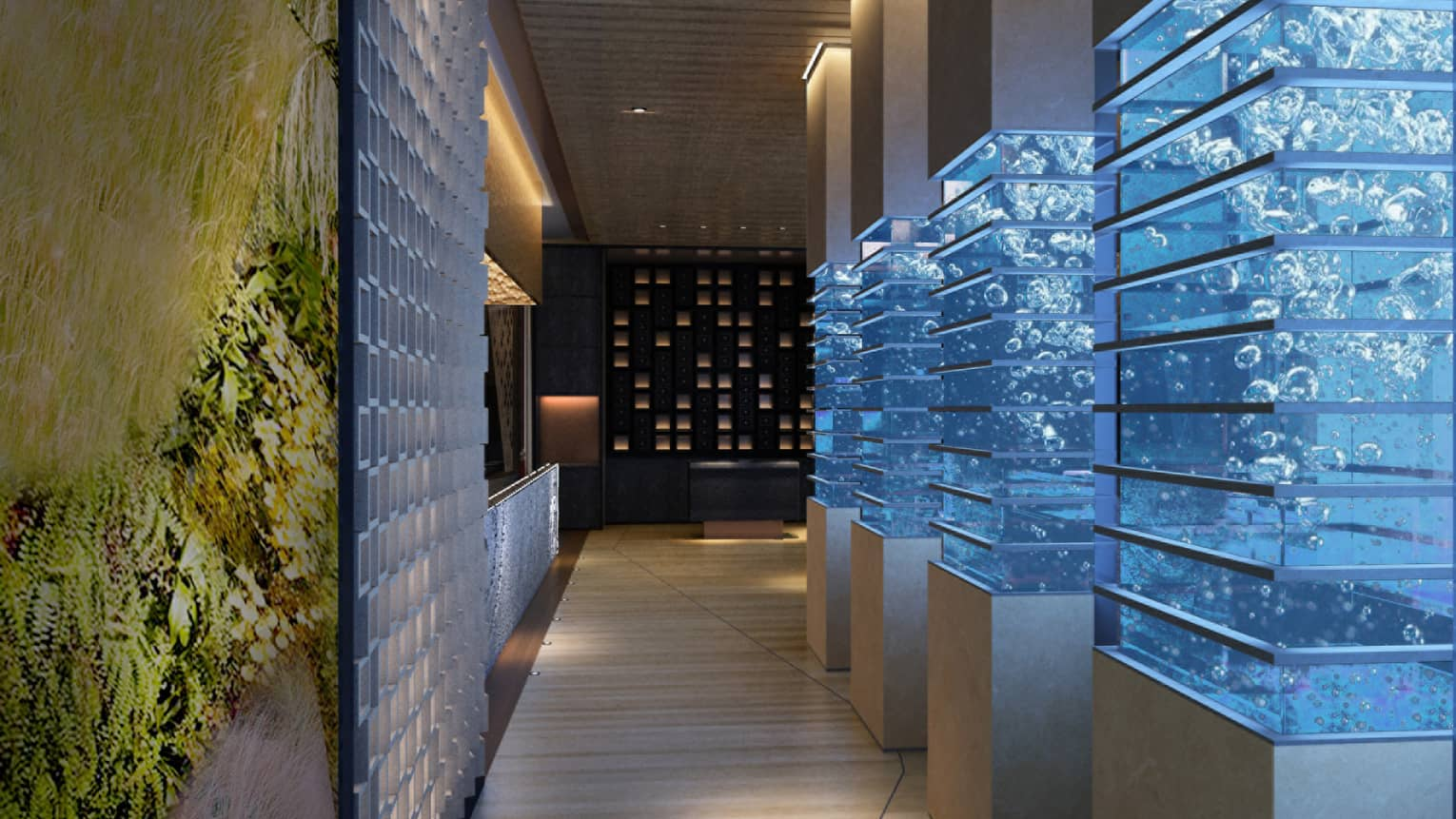 Modern pillars with glass, bubbles in dimly-lit hallway in Sintoho Restaurant