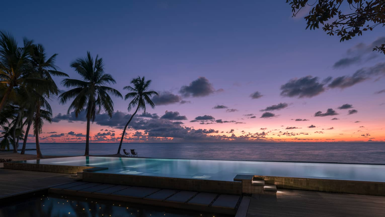 Beach pool with palm trees and water views at sunset