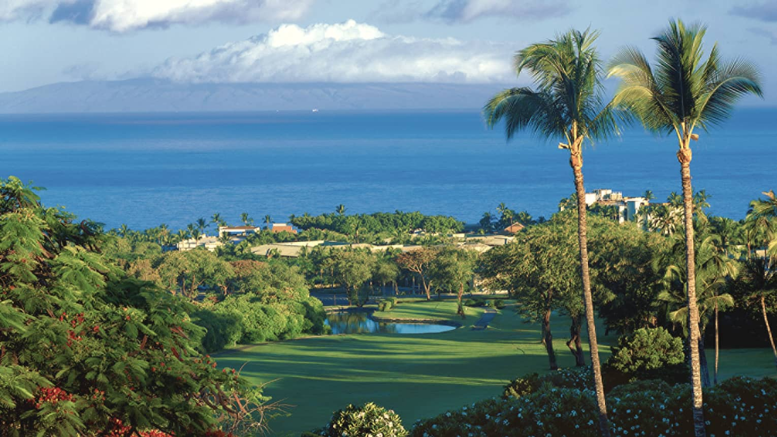 Looking down at Wailea Blue Course green with resort, ocean and mountain in background
