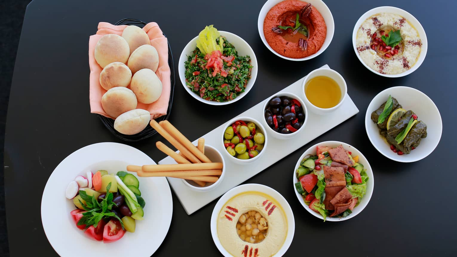 Assortment of Lebanese foods