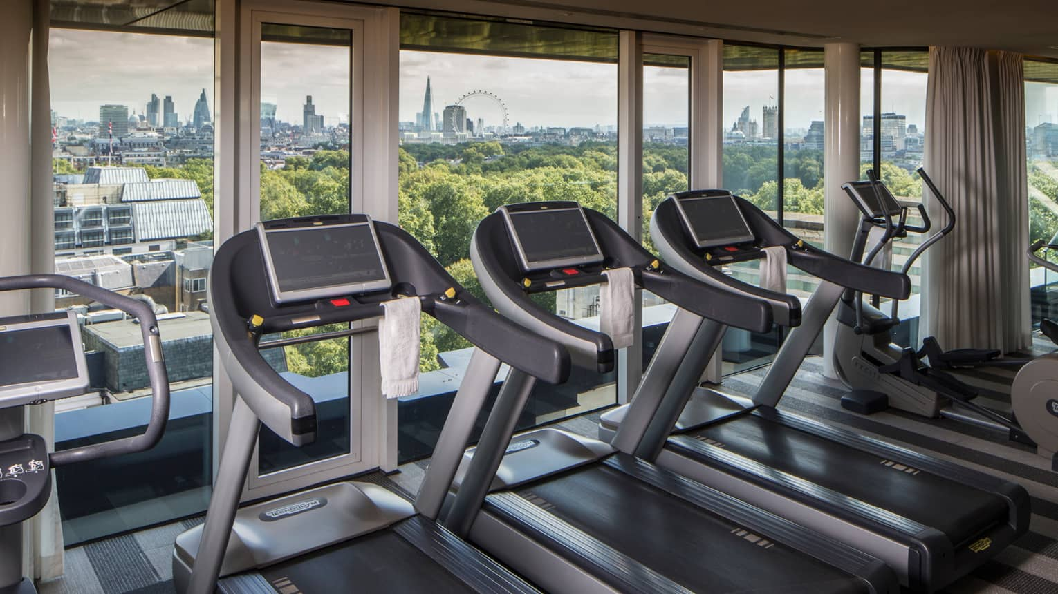 Fitness Centre treadmills in row by window with London skyline views