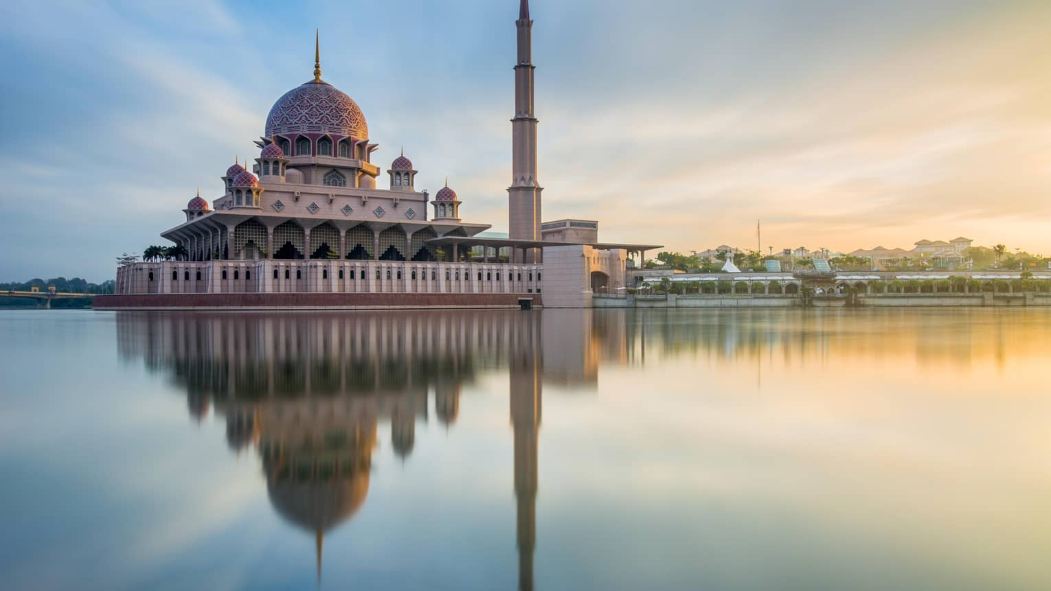 Putra Mosque reflects off the river