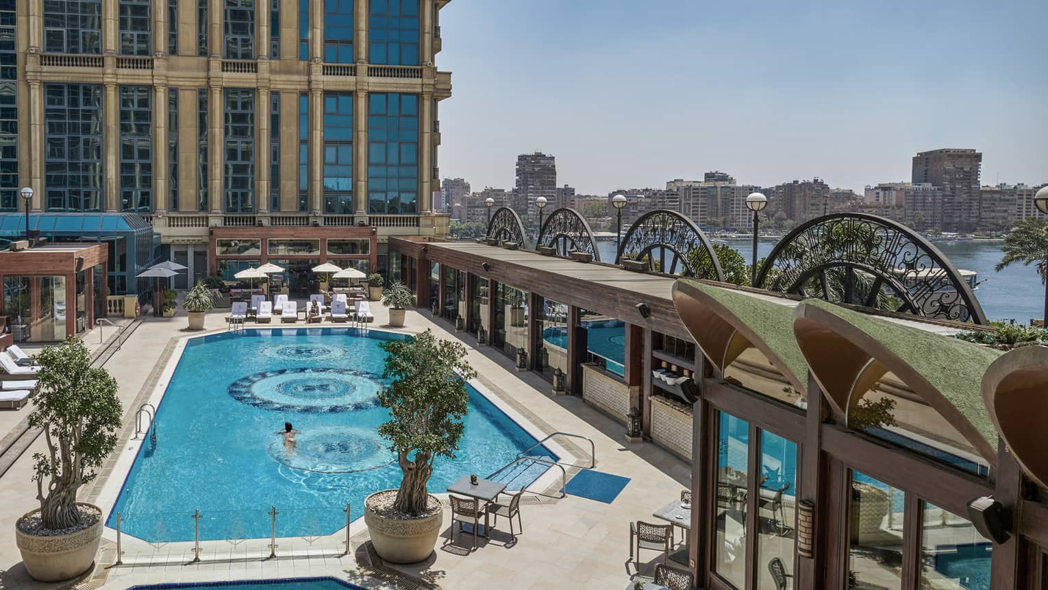 Outdoor pool with Nile views