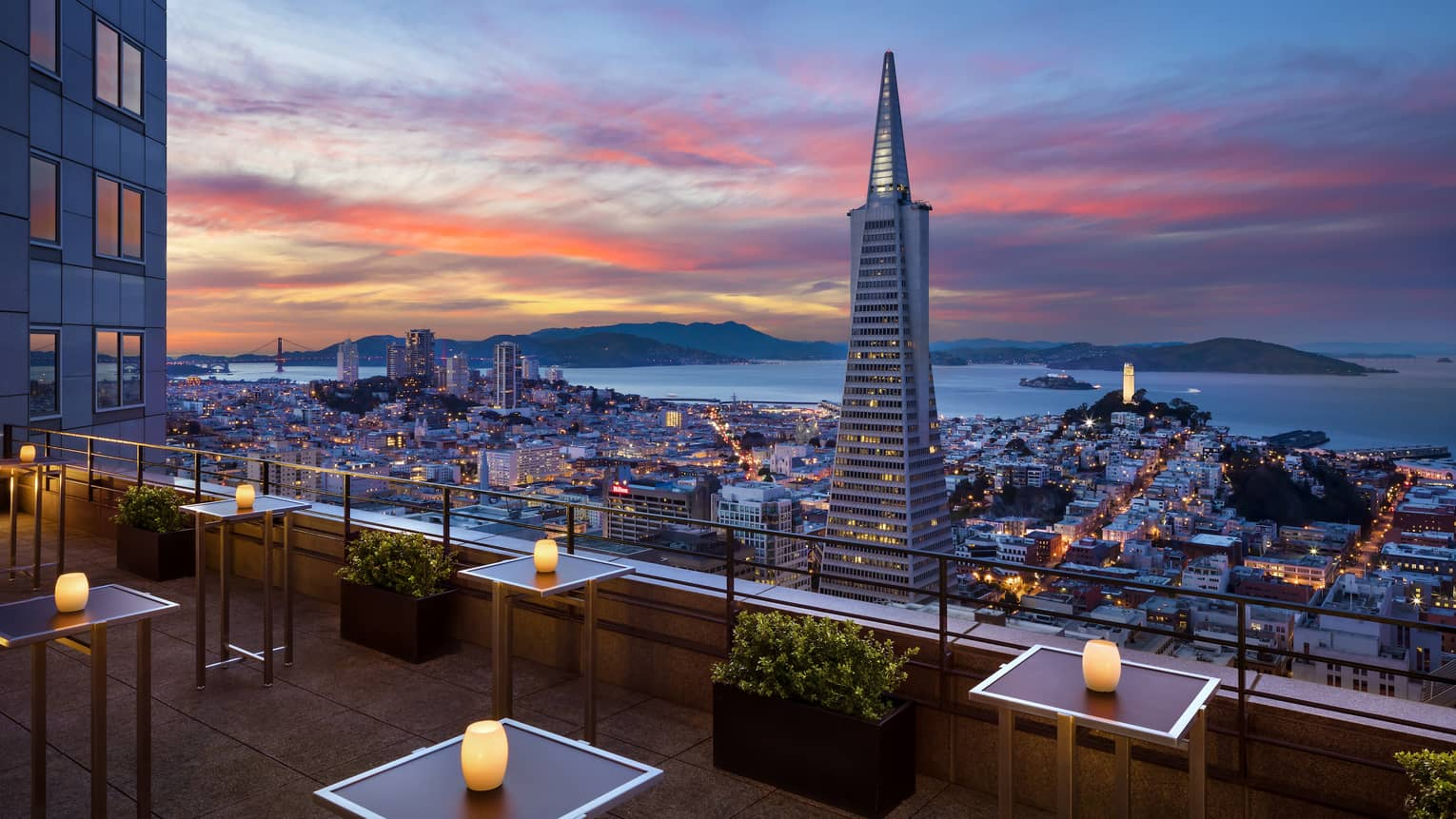 The sunset view over San Francisco from Four Seasons Hotel San Francisco at Embarcadero