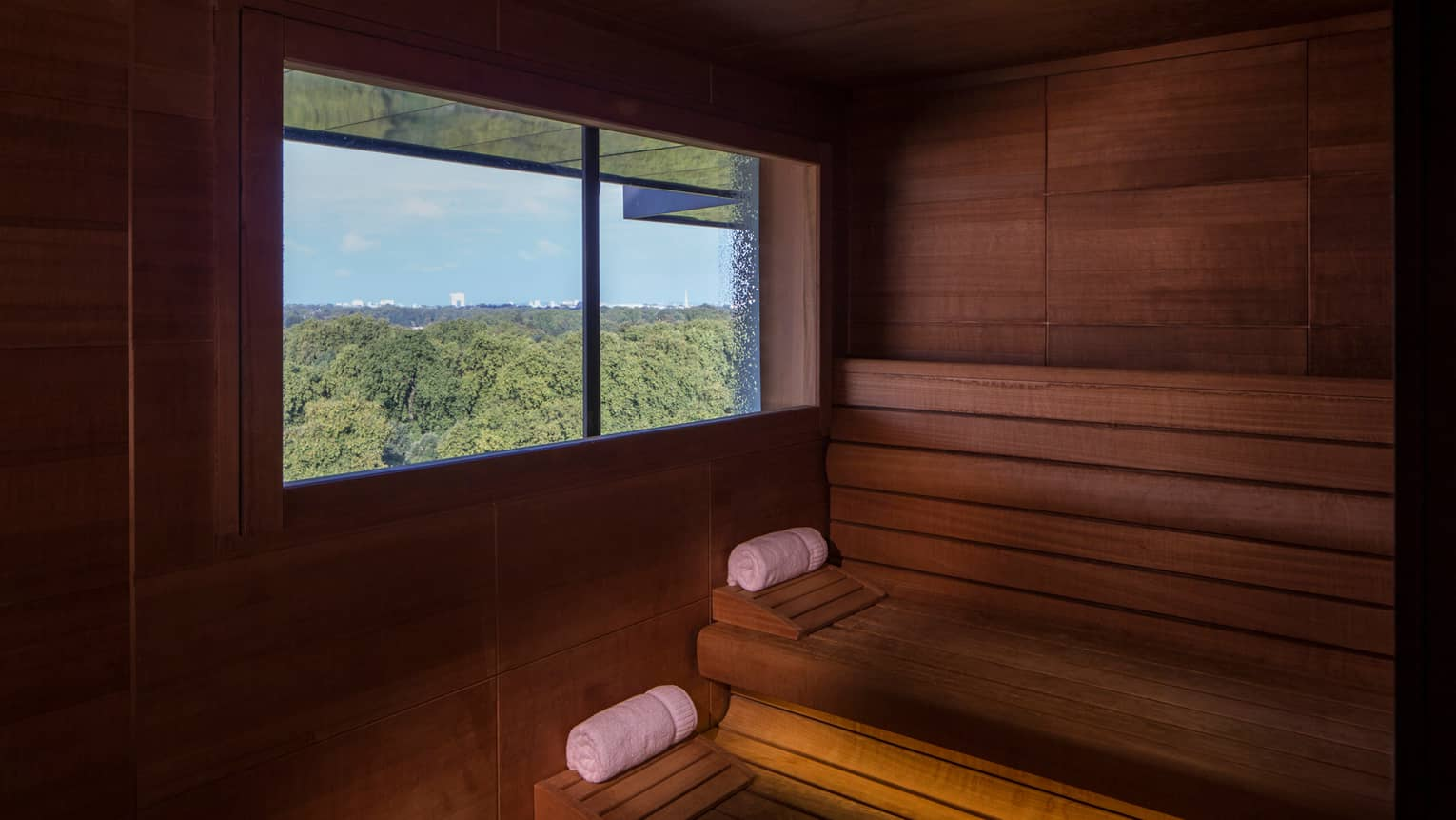 Rolled white towels on benches in wood sauna, window looking out over trees