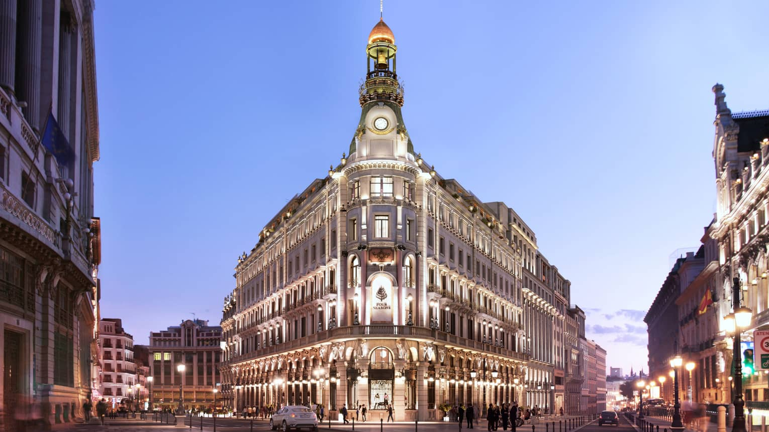 The exterior of the historic Four Seasons Hotel Madrid building