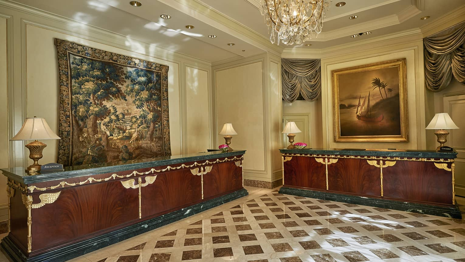 Hotel lobby with tapestry, art and marble flooring