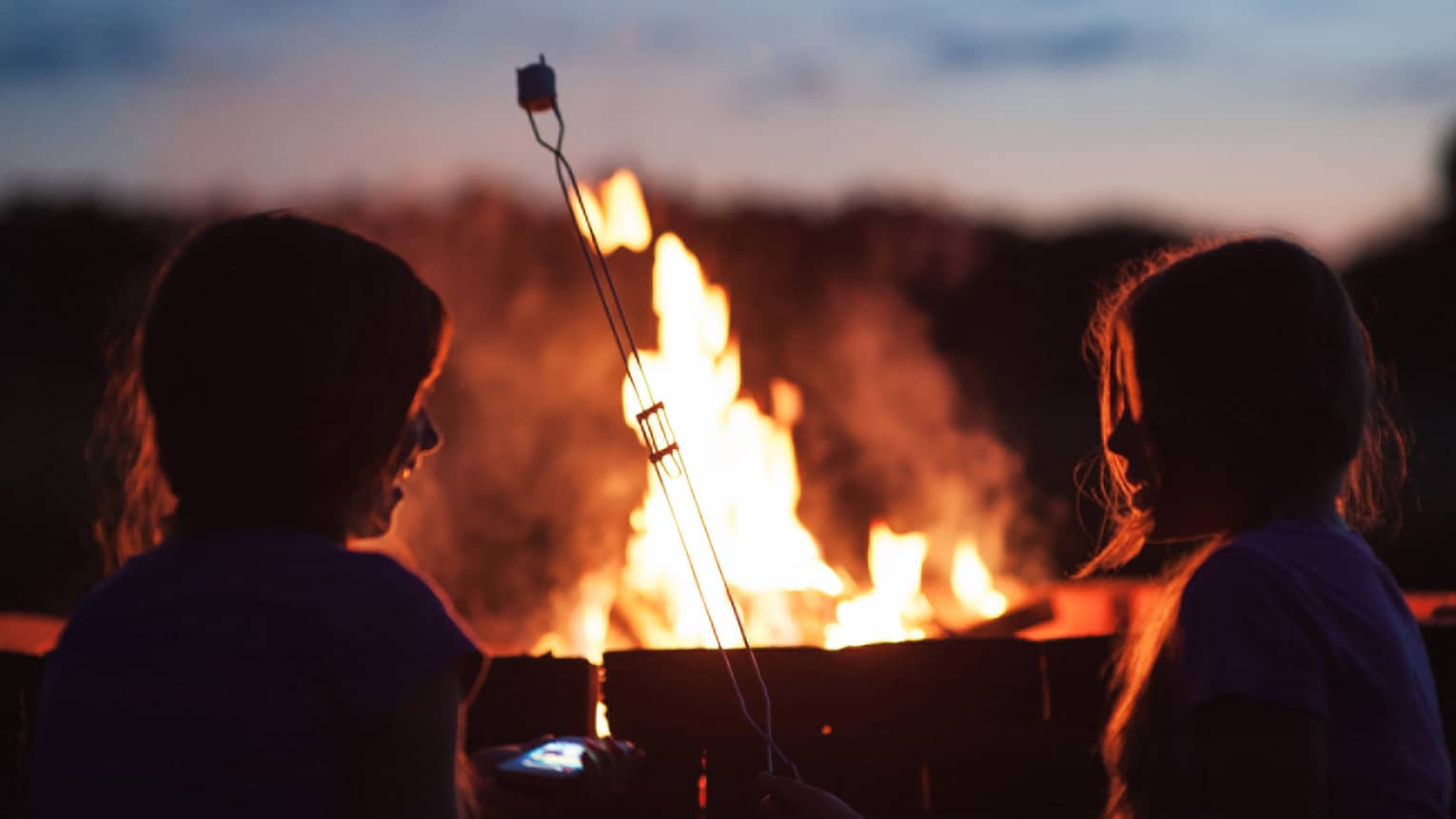 Silhouette of two children roasting marshmallows in front of roaring bonfire