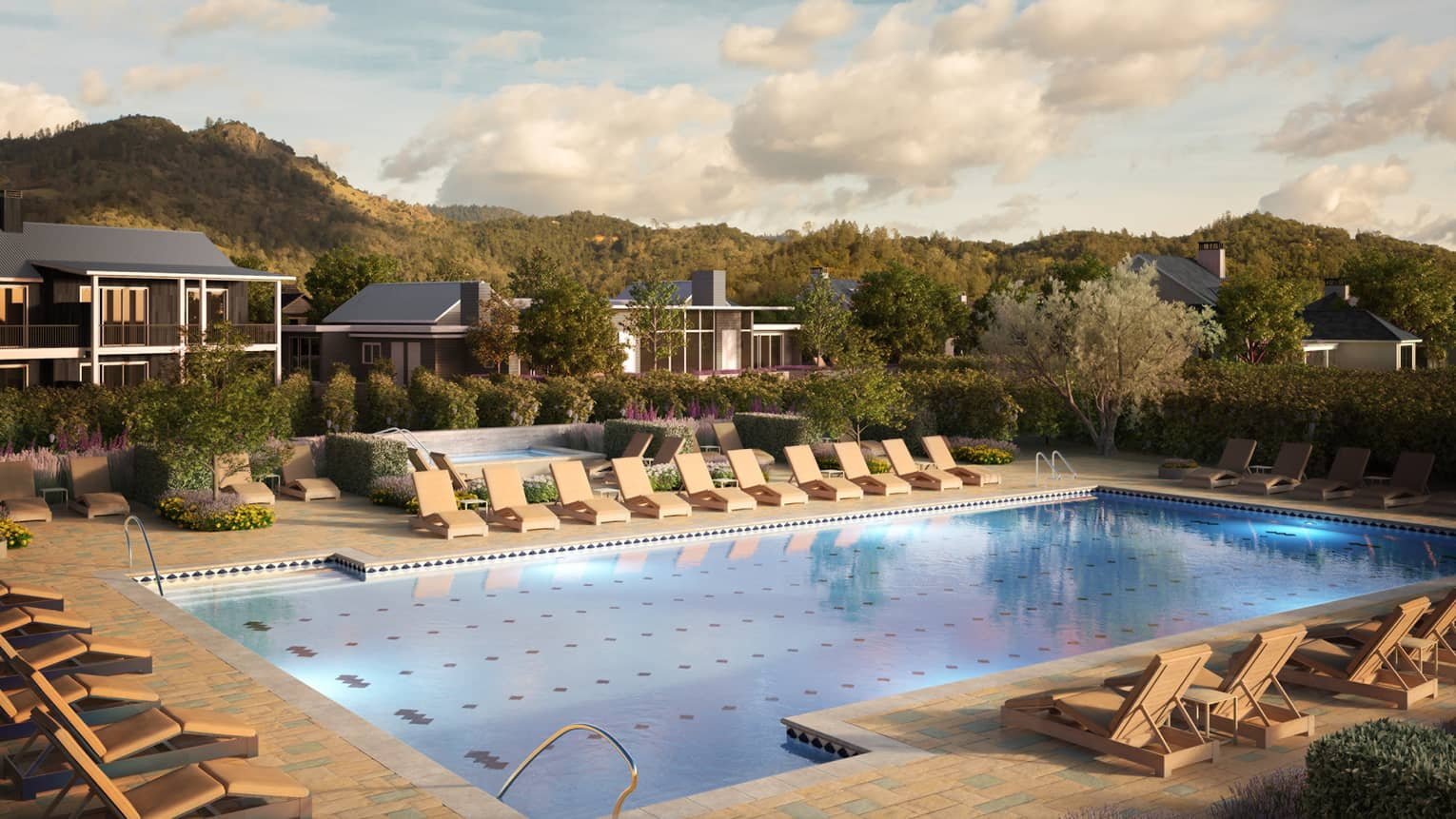 Rendering of patio lounge chairs around outdoor swimming pool with residences, mountains
