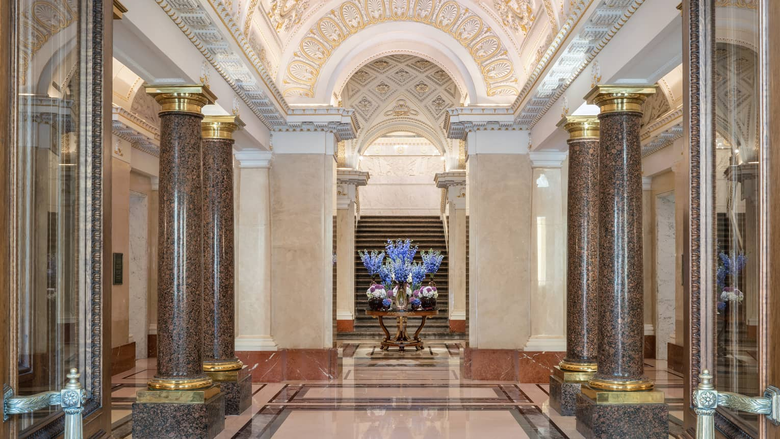 Four Seasons Hotel St. Petersburg with marble pillars, arched gold ceiling