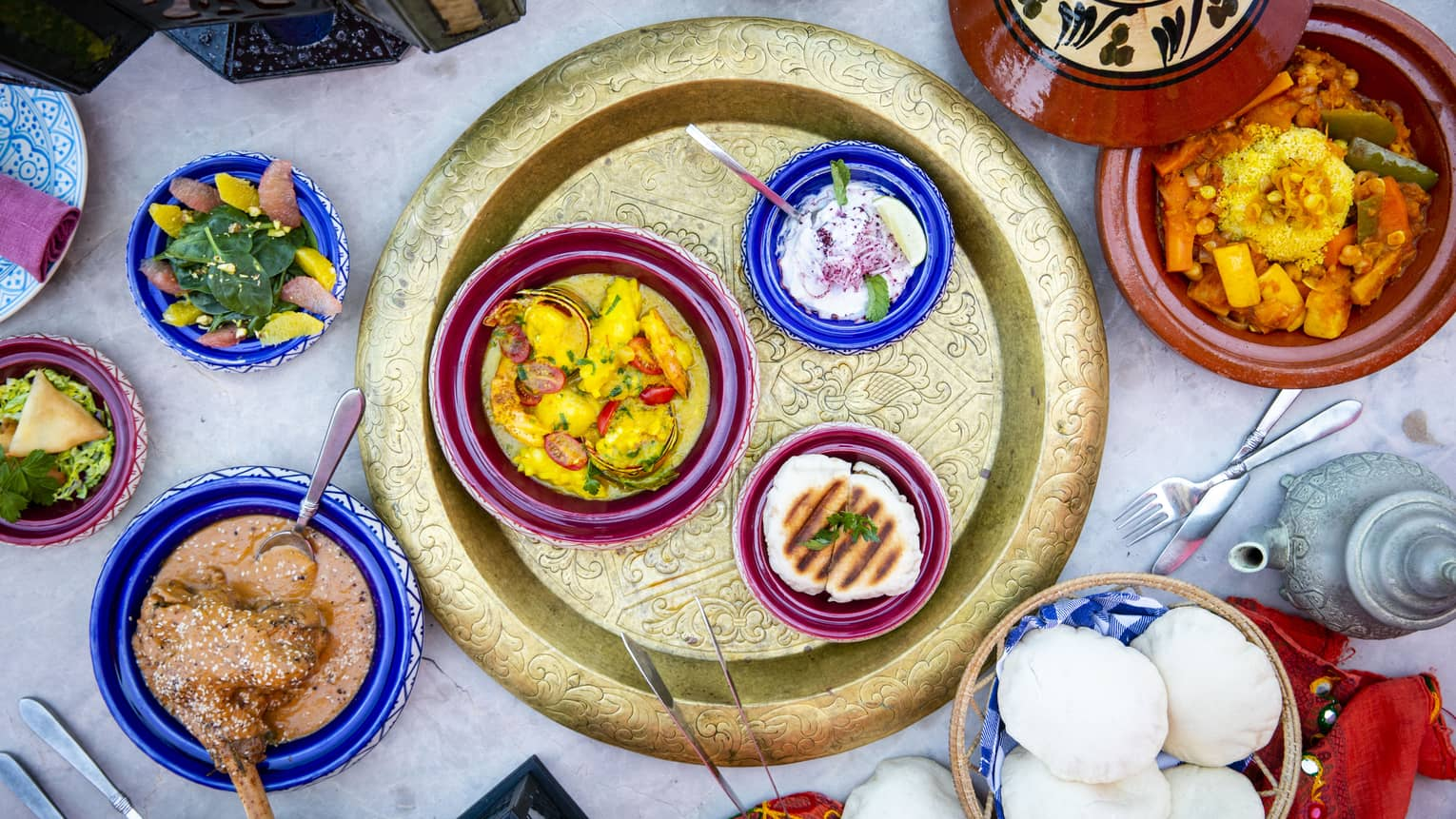 A colourful assortment of dishes at Al Barakat