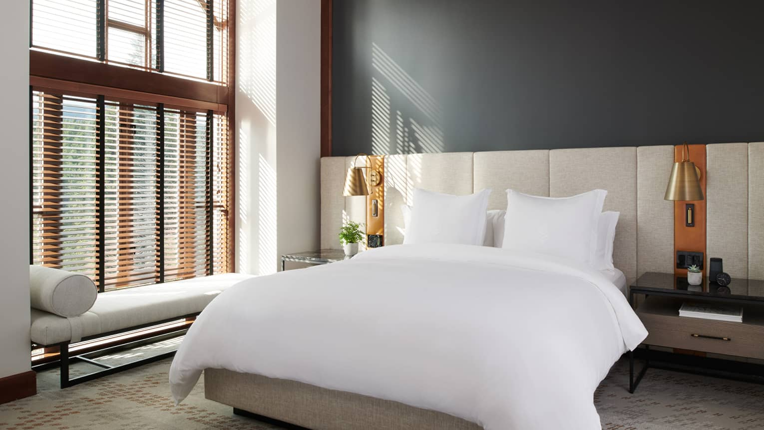 High-ceilinged bedroom with a wall of windows, a queen bed and a tufted wall headboard