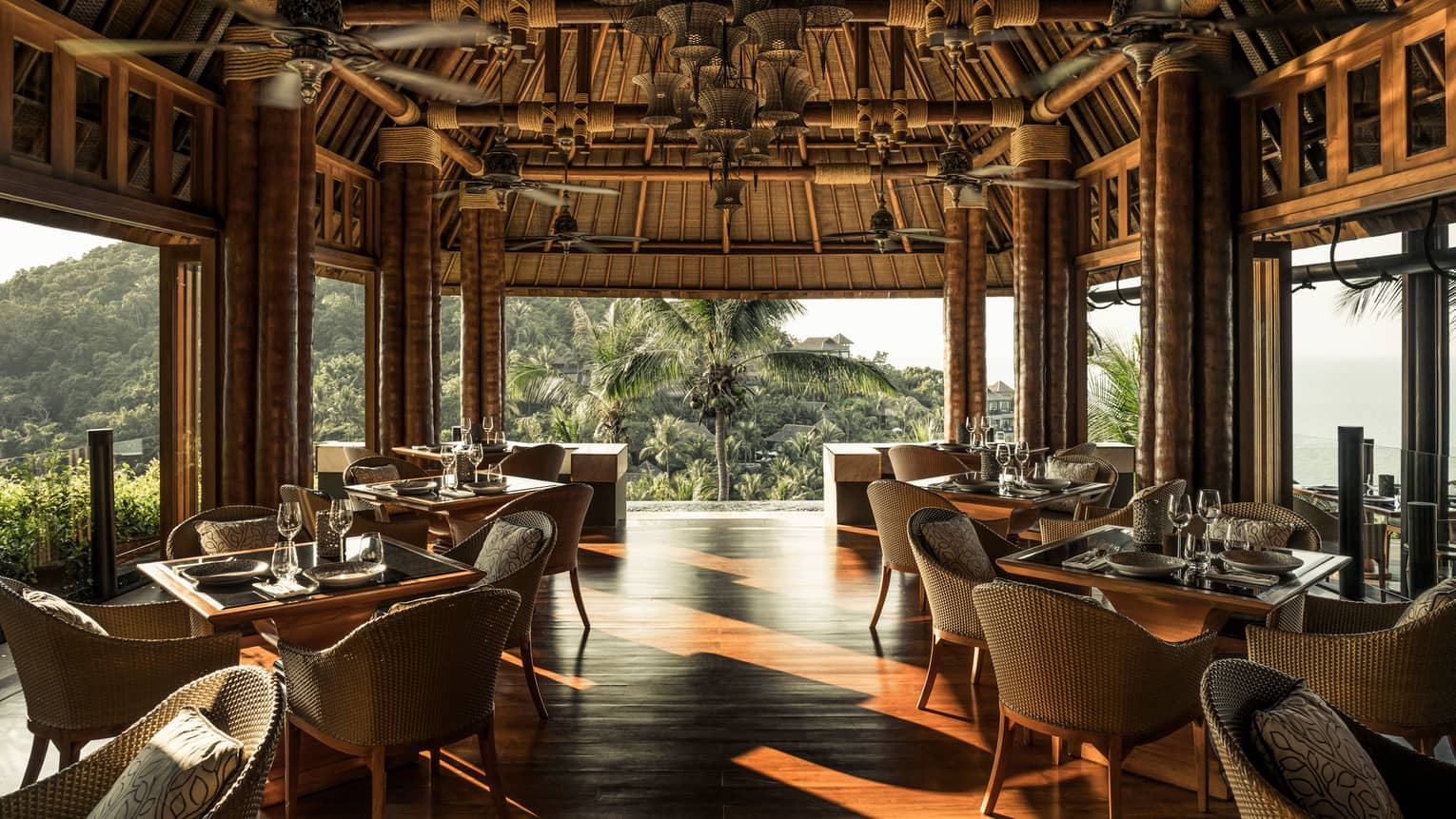 Koh Thai Kitchen and Bar covered dining room with view of the island