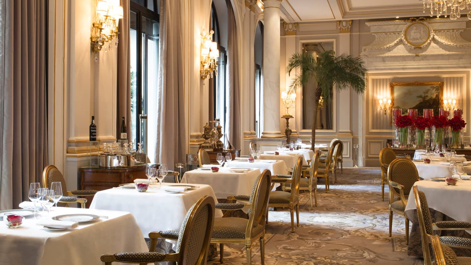 Le Cinq dining room, tables and chairs under soaring ceilings, windows, pillars, potted palms