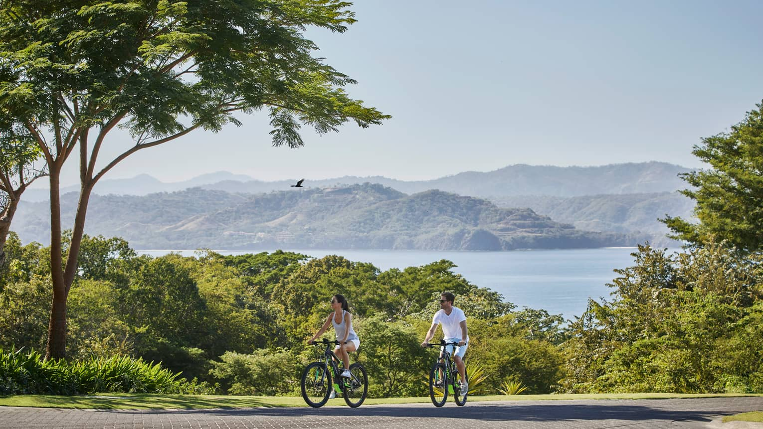 Couple rides bicycles along road on hill with trees, mountains and ocean in background