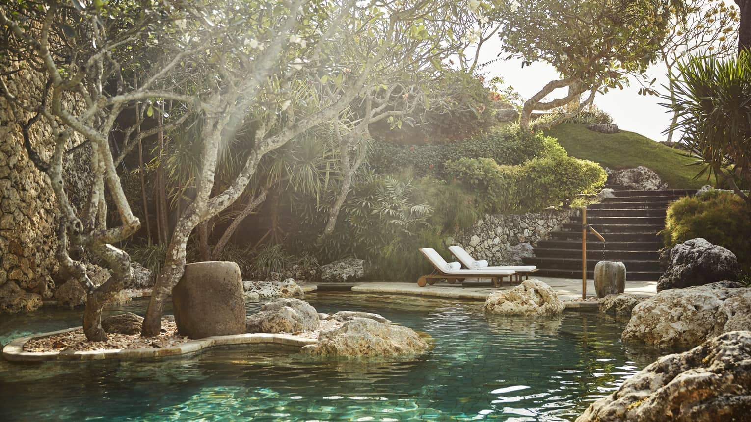 Sunny view of pool surrounded by boulders, rock wall, tree on rock in water, pool chairs and steps nearby
