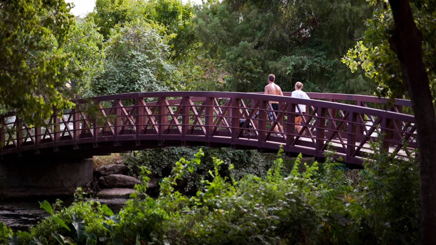 Two people jog across wood bridge surrounded by trees, forest