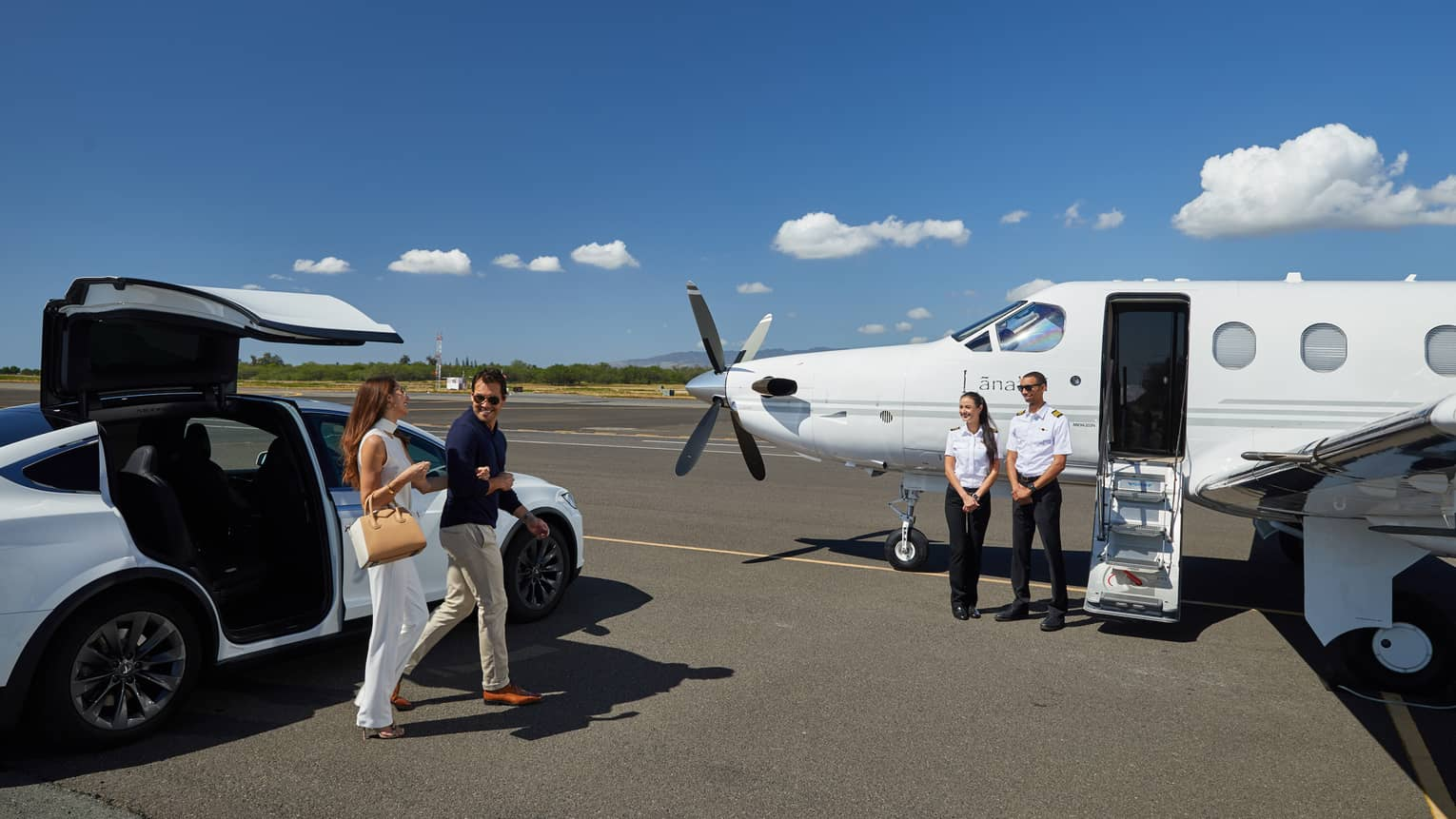 Guests board a luxury plane from Lanai Air to arrive at the Four Seasons Resort