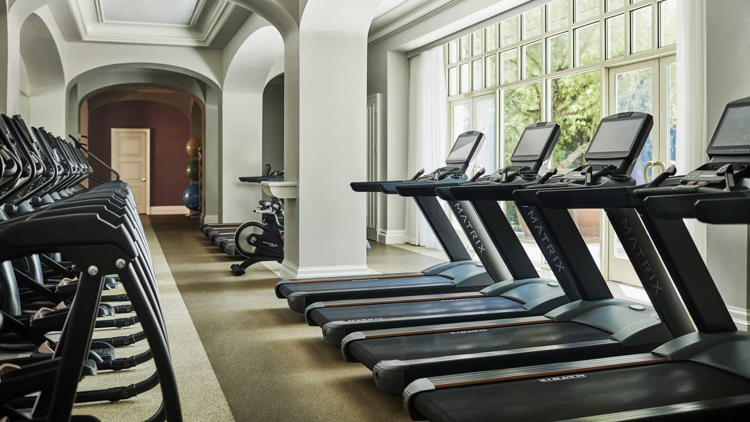 Rows of treadmills under sunny windows in Fitness Centre