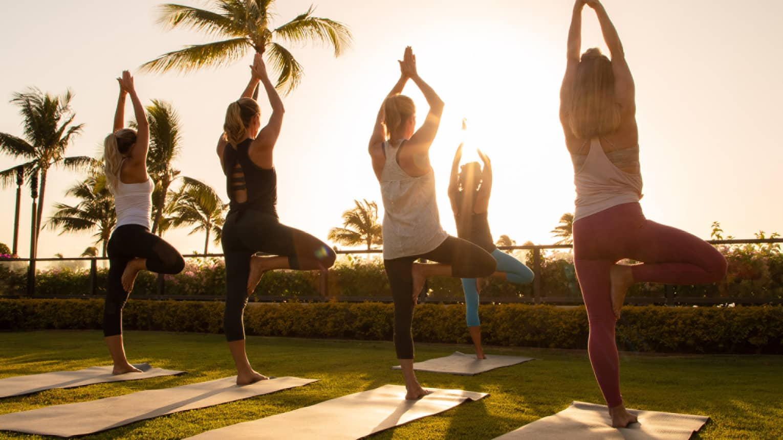 Five women complete yoga poses on mats near the beach with palm trees in the background