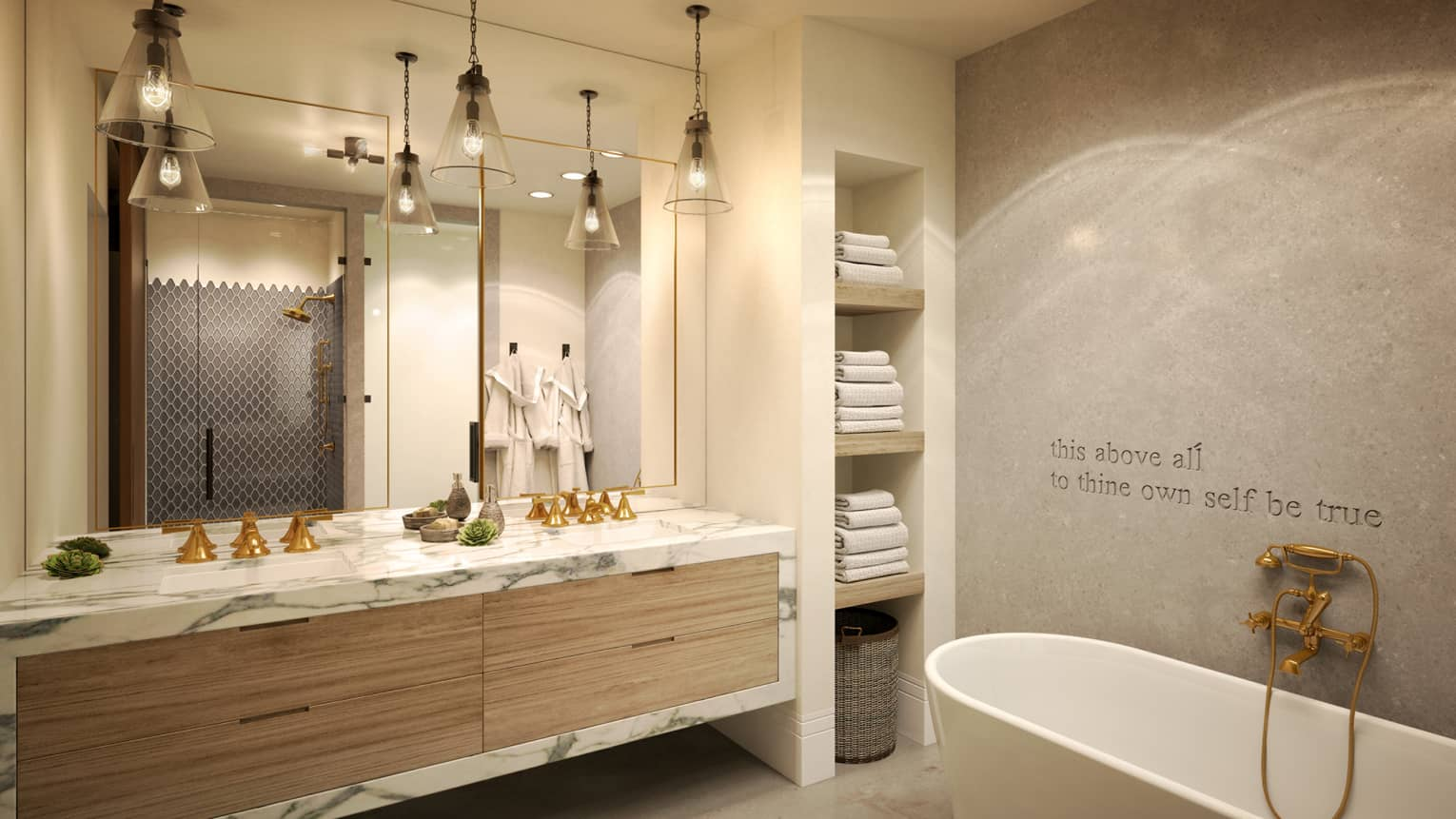 Rendering of large residence master bathroom with marble double vanity, soaker tub