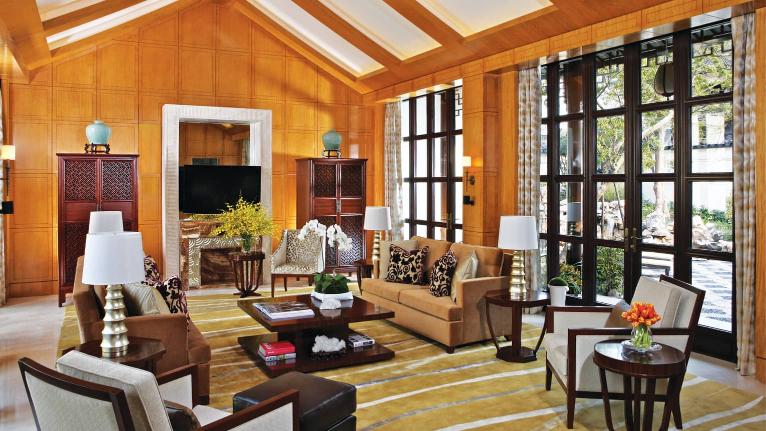 Jiang Nan-style Ambassador Villa living room under soaring ceilings, large windows