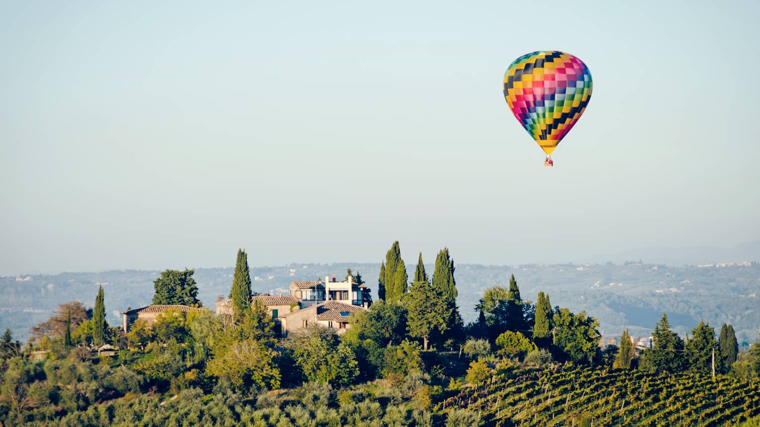 A colorful hot air balloon hovering over a vineyard in Florence