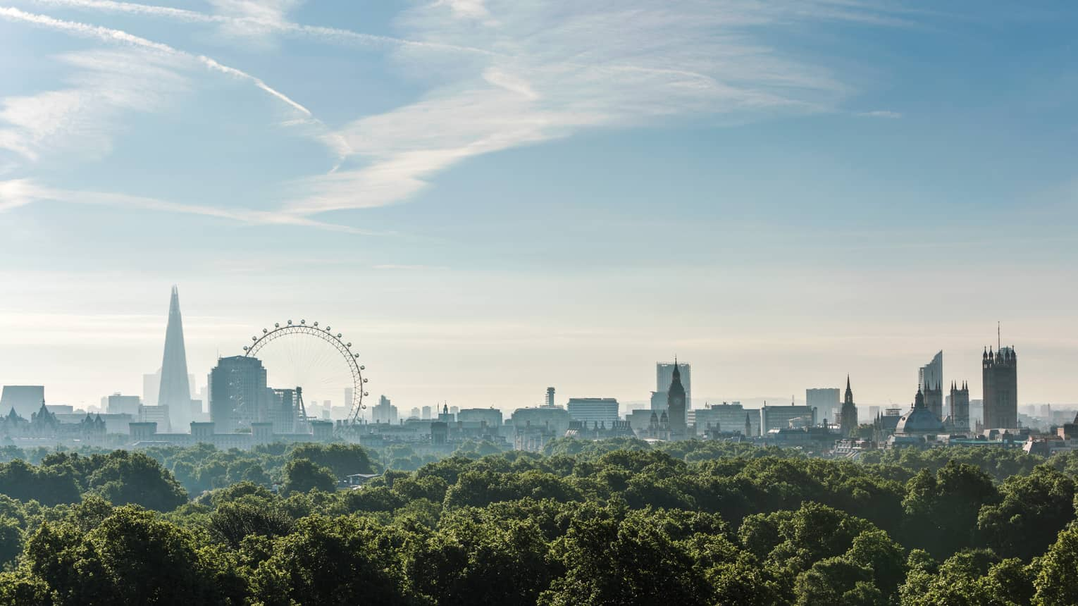 London city skyline, ferris wheel on horizon over canopy of green trees