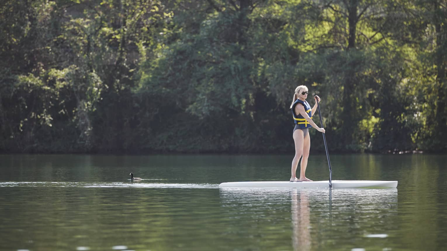 A woman paddle boards across serene waters