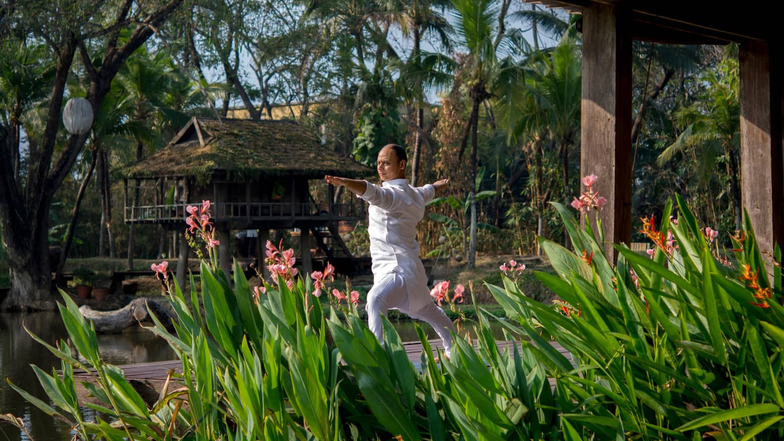 Resident yogi Dheera wearing white in yoga pose with arms outstretched by tall flowers, leaves