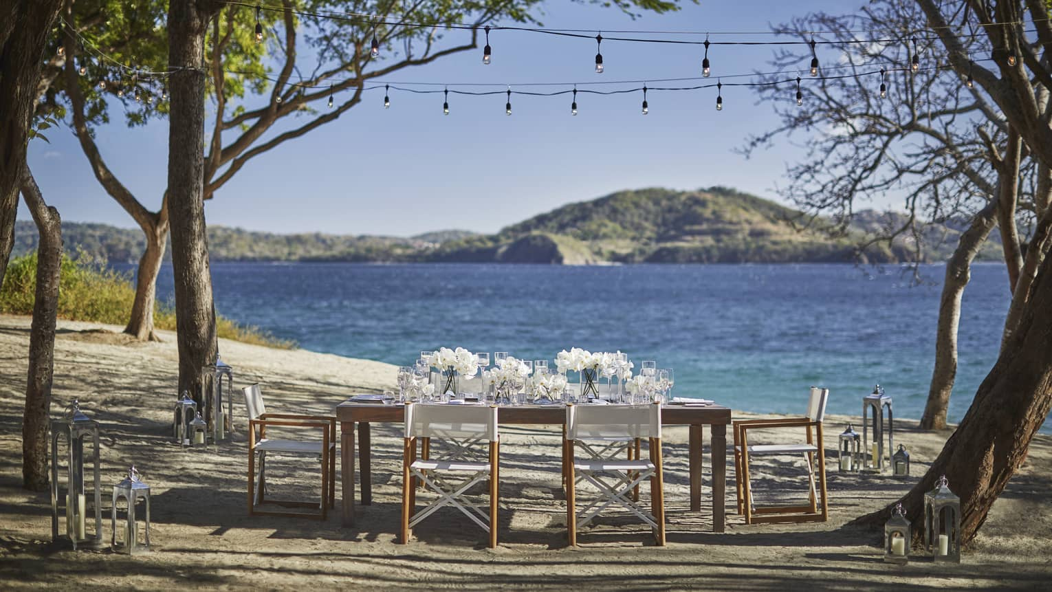 Outdoor dining table with white flowers on sunny beach by ocean