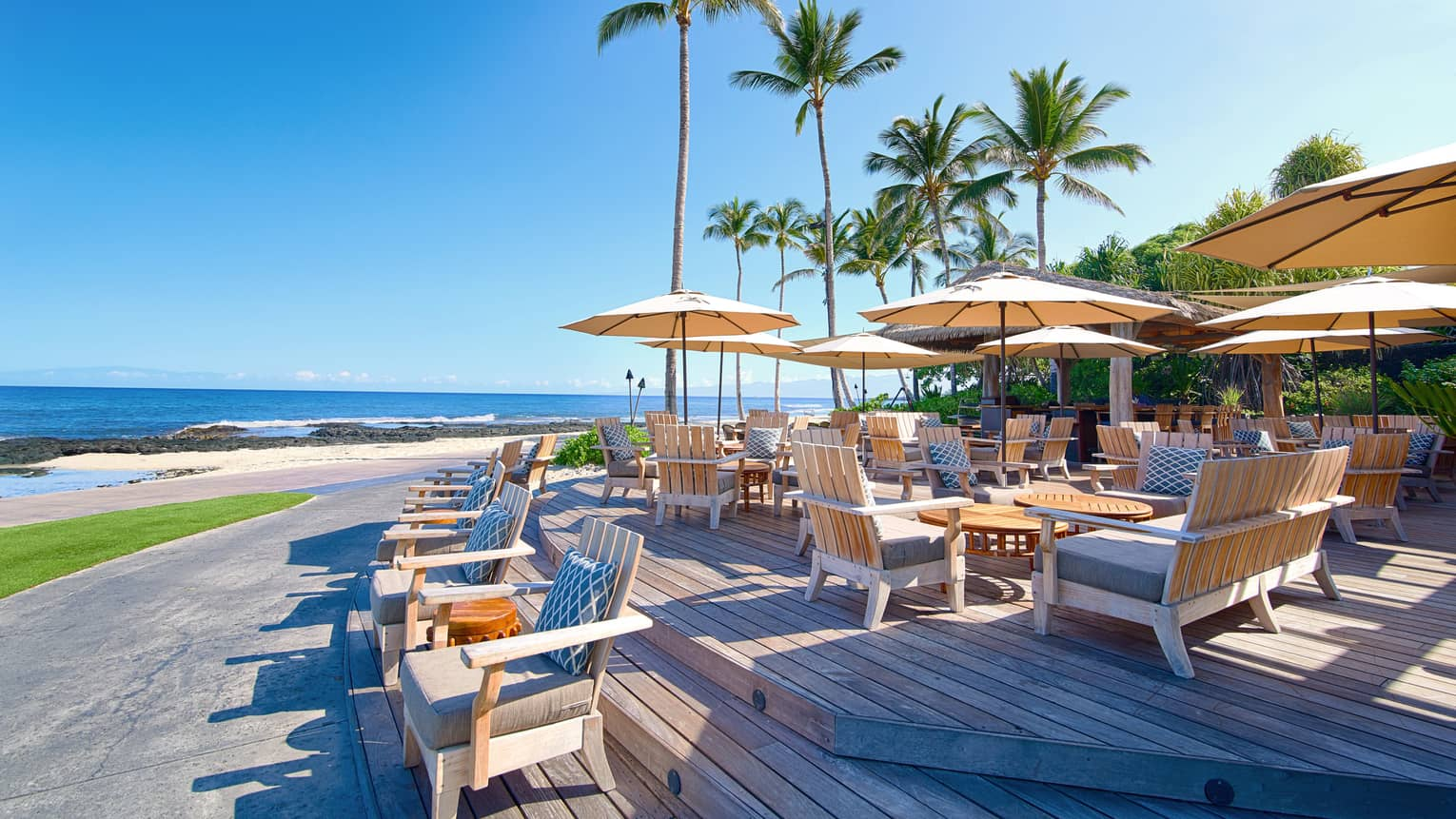 Beach Tree restaurant patio towering palm trees over wood deck, dining tables