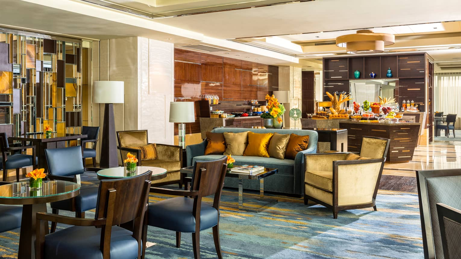 Executive Club Lounge tables, sofa, buffet