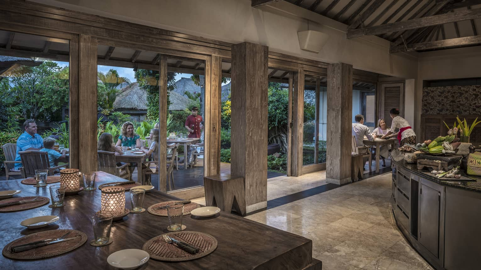 Place-settings are set up for guests at the Jala Resturant in Bali