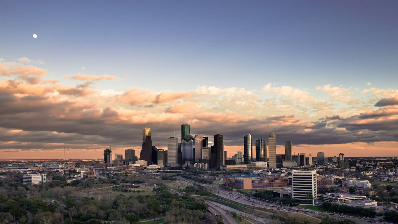 View of Houston city skyline at sunrise