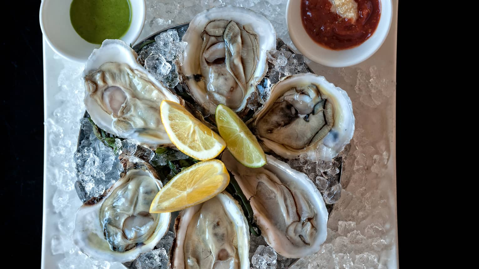 Close-up of platter of fresh oysters in half shells on ice with three lemon wedges in centre, sauce in small bowls