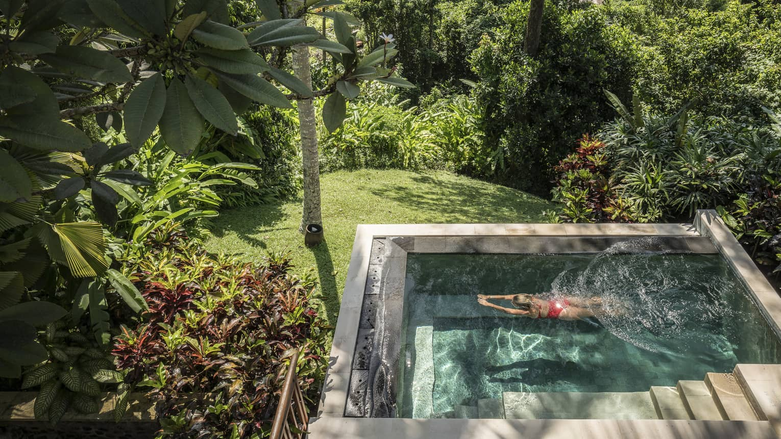 A guest swimming in a pool in Bali, surrounded by a sunlit forest