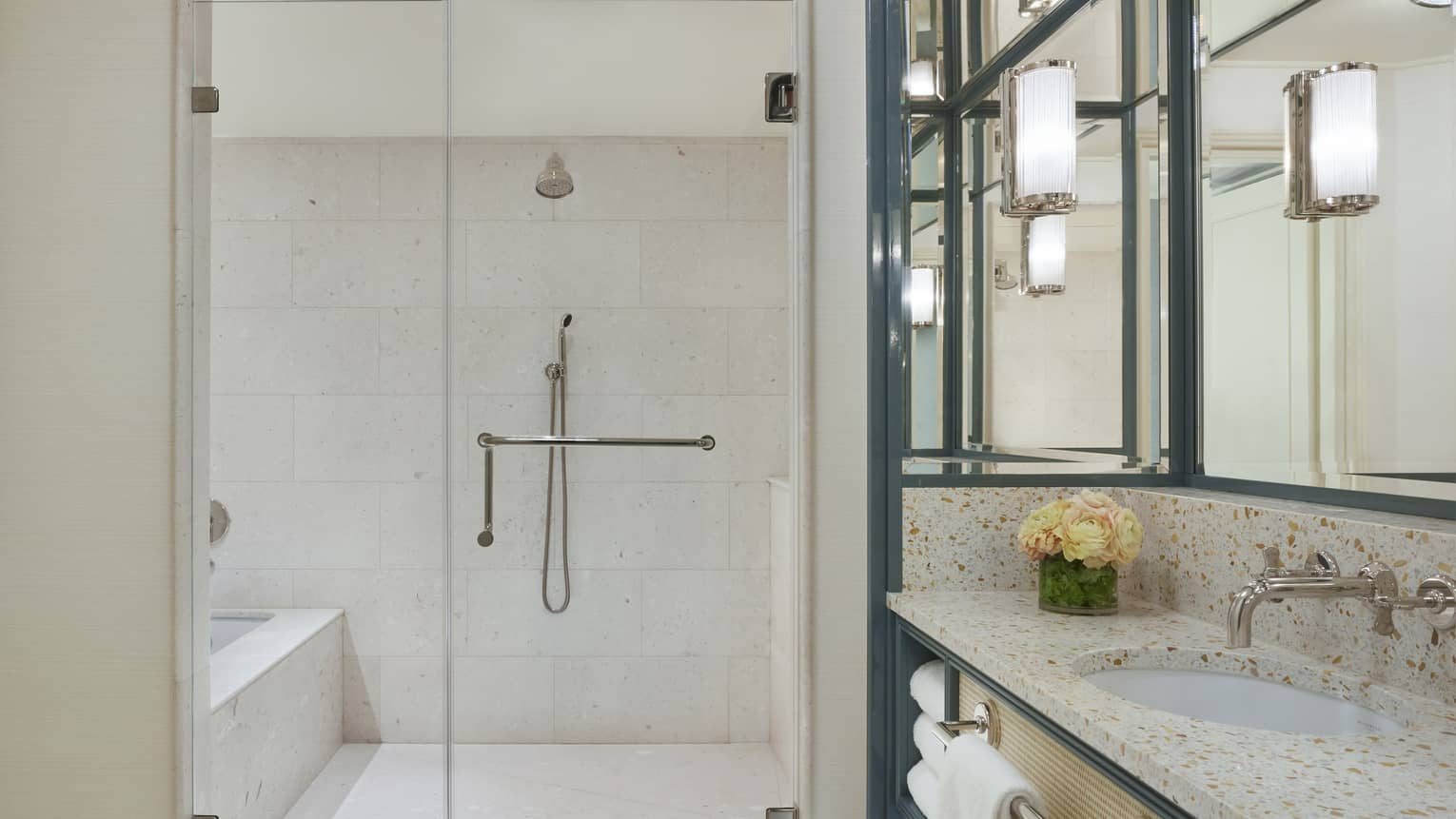 Modern hotel bathroom with a walk-in shower and large vanity