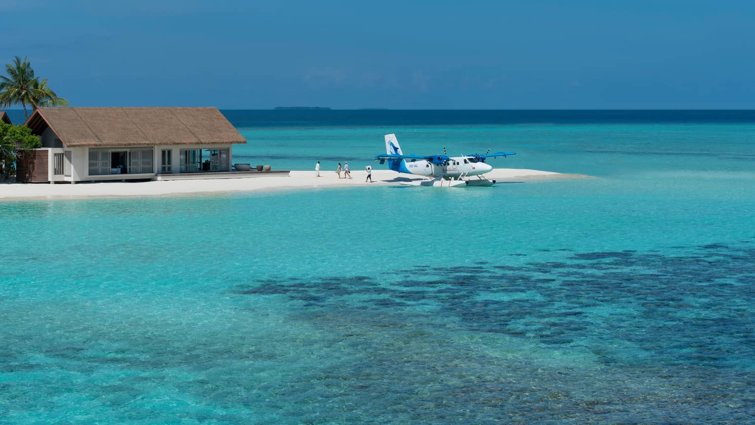 Guests descend from private float plane parked at white sand beach
