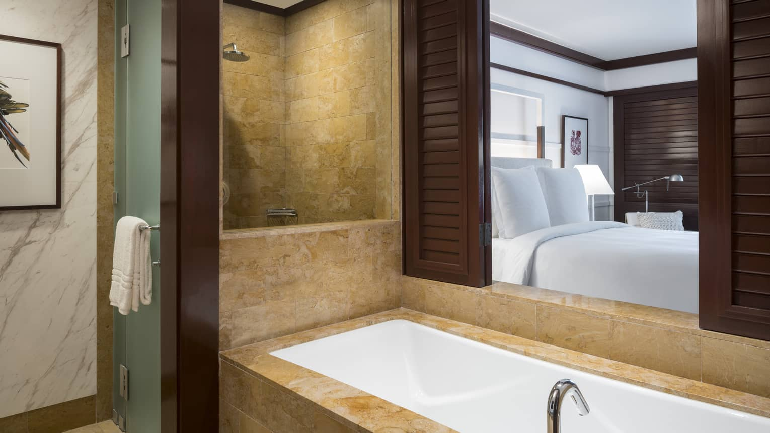 Bathroom with Open Shutters Onlooking Bedroom