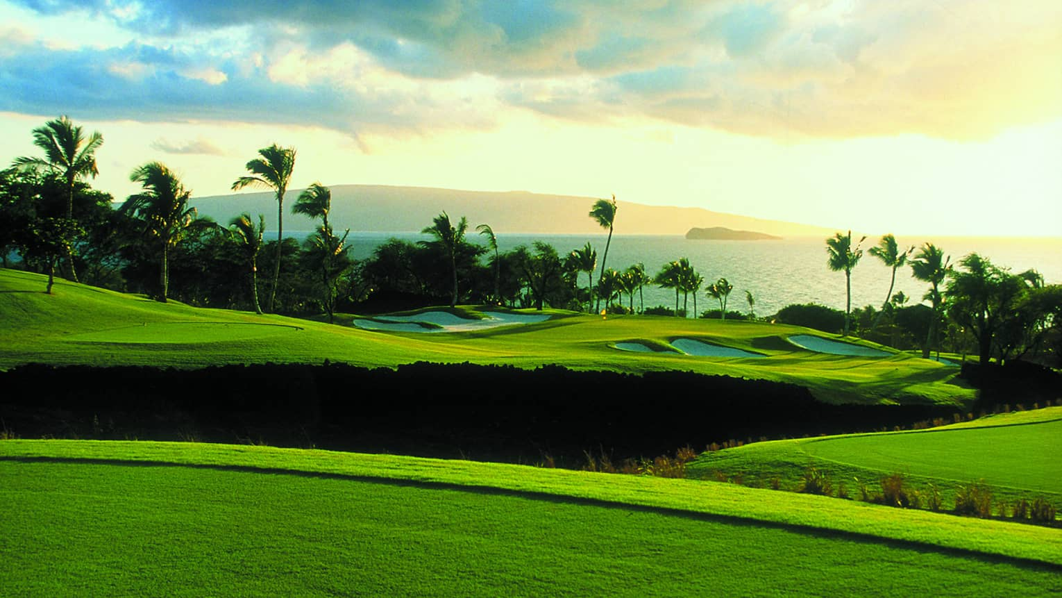Rolling golf greens at oceanside Wailea Gold Course with palms and ocean view