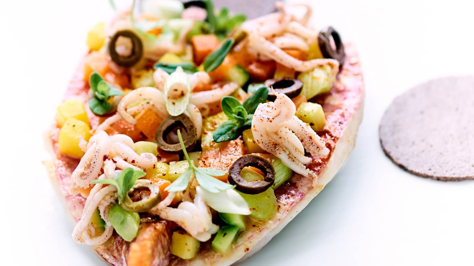 Close-up of fresh squid, seafood on bread with chopped vegetables, olives, sauce