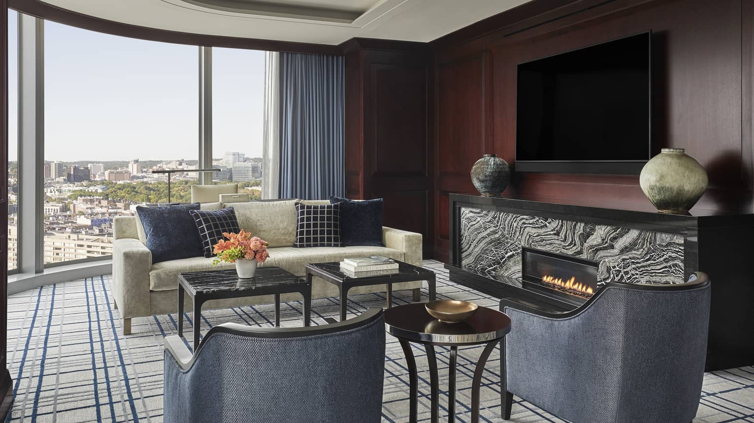 Presidential Suite living area at four seasons hotel boston one dalton