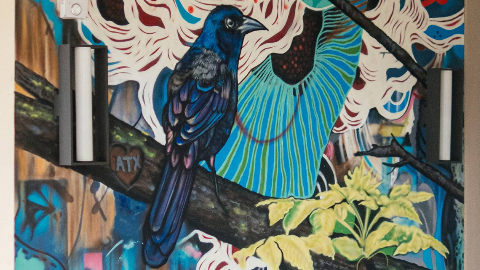 "Jason Eatherly's ""Grackle with Love"" mural on Ciclo's patio."